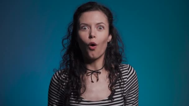 dark hair woman deeply shocked and have surprise
