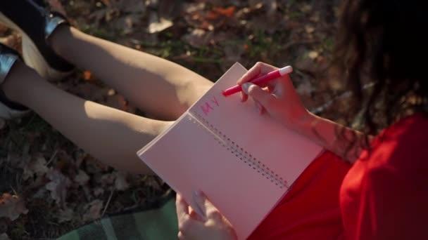 gyönyörű fiatal nő jegyzetel a napló üres oldalán