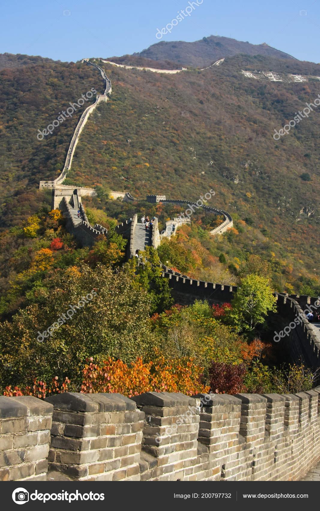 Grote Foto Op Muur.Grote Muur Herfst Muur Loopt Door Toppen Van Heuvels Bedekt