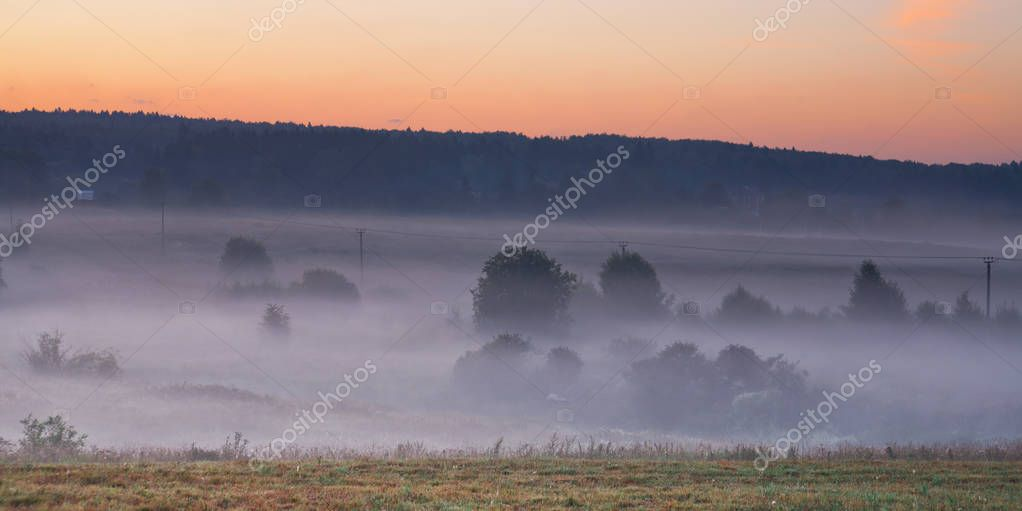 Morning in a gently sloping misty valley, in the foreground a fi