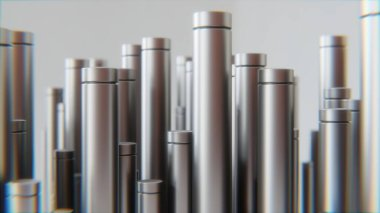 Metal tubes. Manufacturing industry business production and heavy metallurgical industrial products creative in room: many shiny steel pipes creative industrial background. 3d rendering