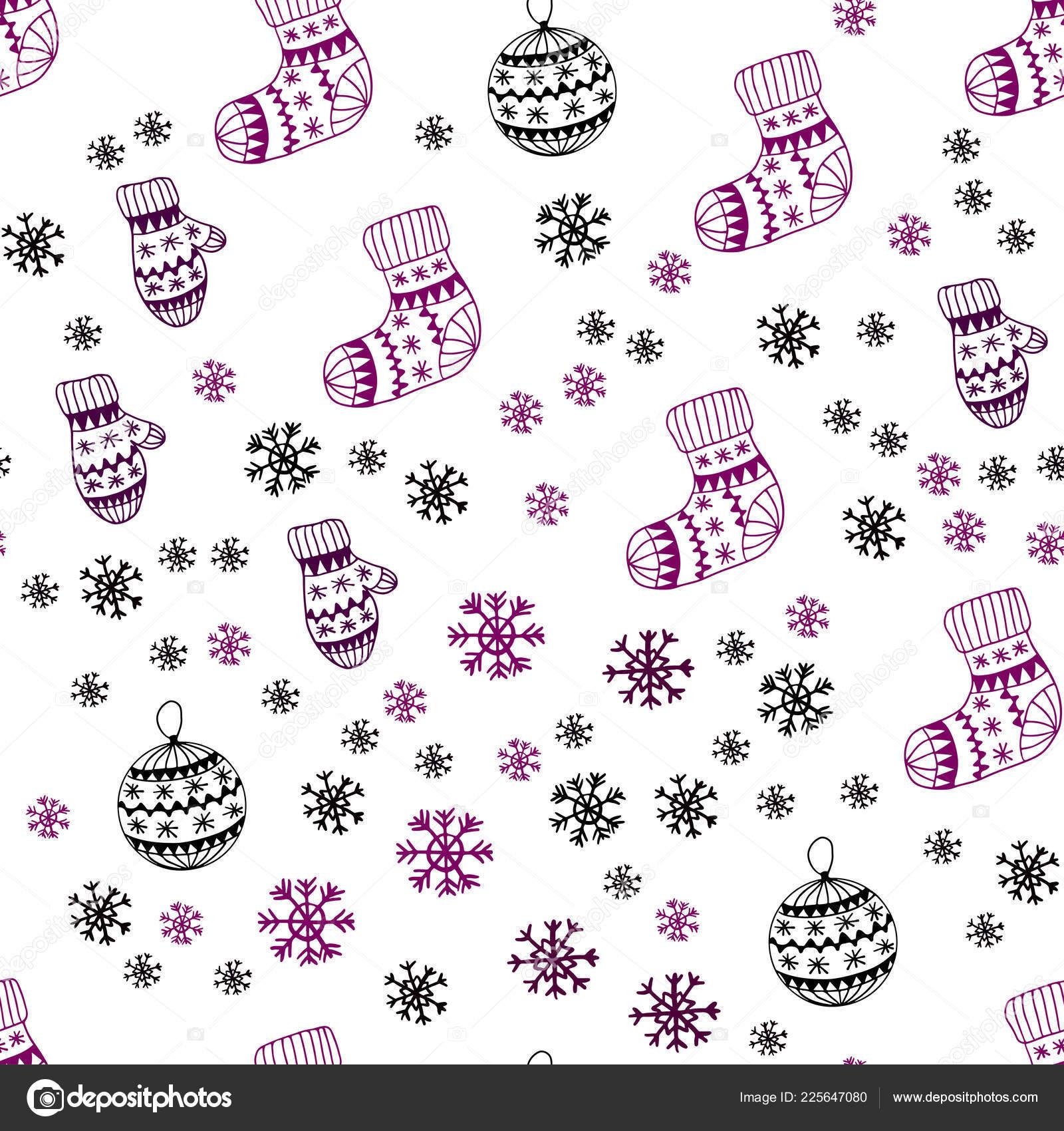Avec Des Flocons De Neige Belles Balles Chaussettes Mitaines Brillante Illustration Coloree Dans Le Style Noel Modele Pour Cartes Visite