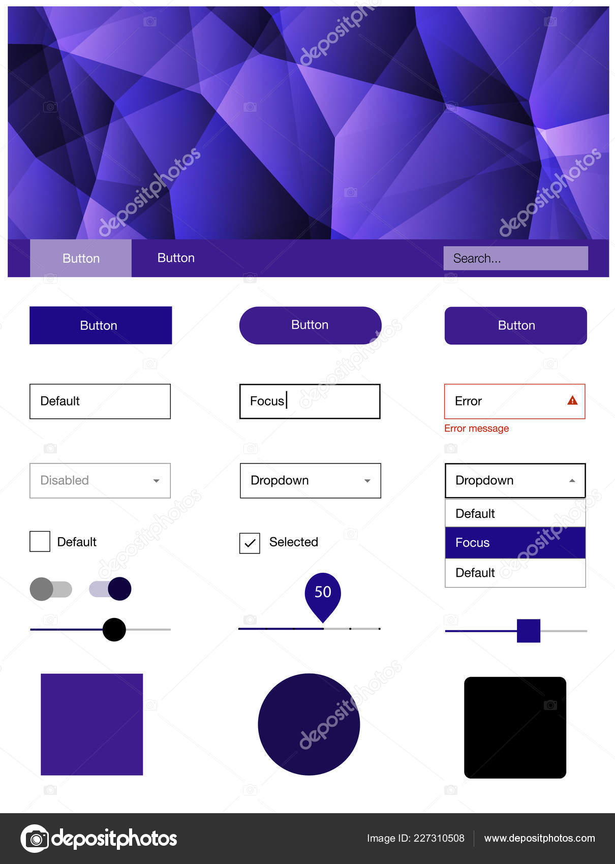 Dark Purple Pink Vector Style Guide Triangles Colorful Kit Header