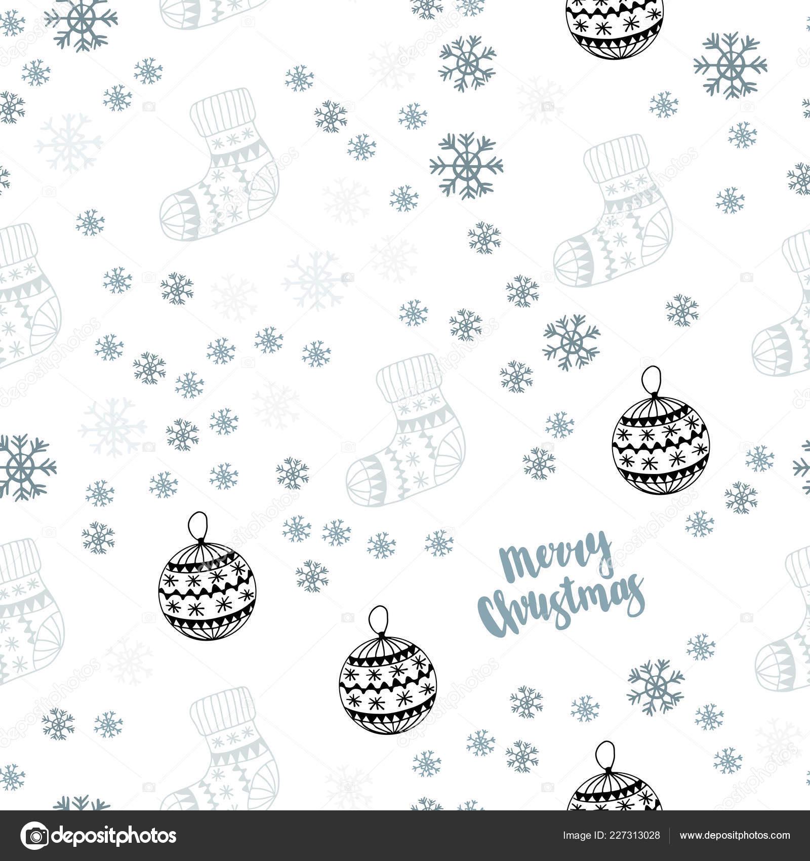 Avec Des Flocons De Neige Lumineux Balles Chaussettes Mitaines Brillante Illustration Coloree Dans Le Style Noel Modele Pour Cartes Visite