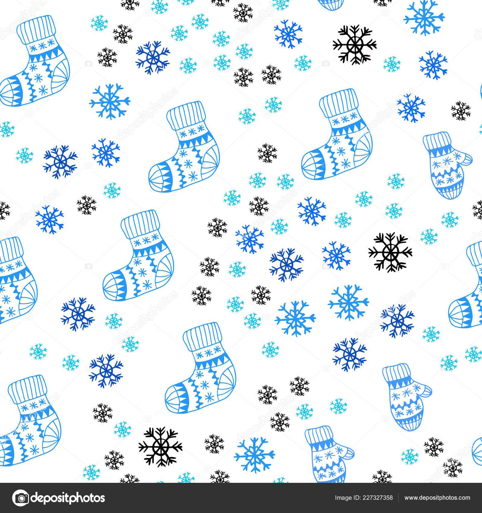 Bleu Clair Avec Des Flocons De Neige Glacee Balles Chaussettes Mitaines Paillettes Abstract Illustration Degrade Modele Pour Cartes Visite