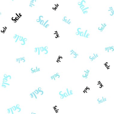 Light Blue, Green vector seamless pattern with sale signs. Colored words of sales with gradient on white background. Backdrop for mega promotions, discounts.