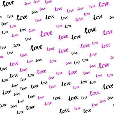 Light Pink, Blue vector seamless cover with quote LOVE YOU. Phrase LOVE YOU with colorful gradient in abstract style. Template for business cards, websites.
