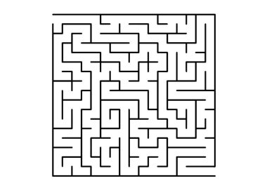 White vector template with a black  maze, puzzle. Simple illustration with a maze on a white background. Pattern for children books, magazines.