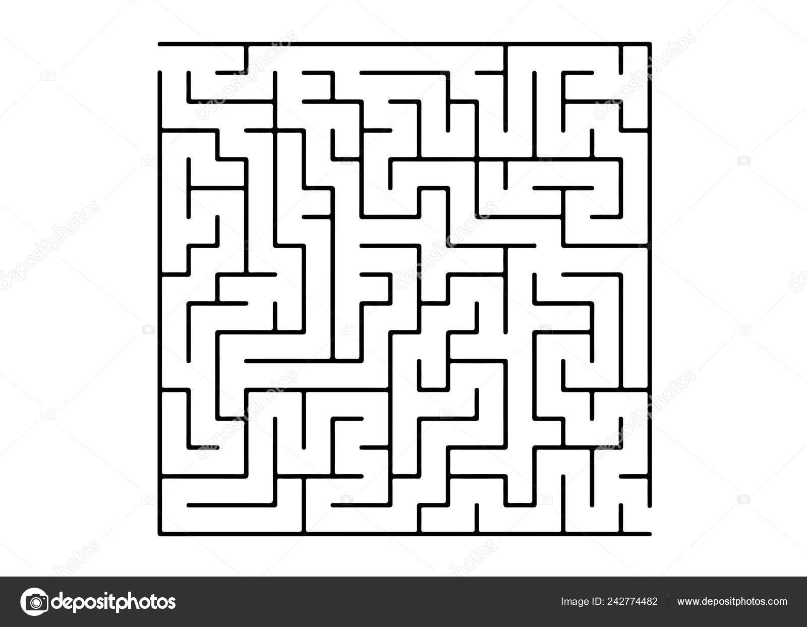 White Vector Template Black Maze Puzzle Black White Maze Simple