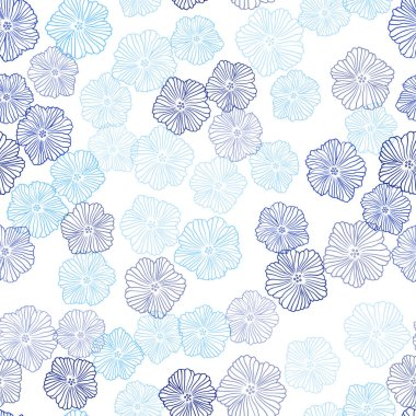 Light BLUE vector seamless doodle background with flowers. Flowers in natural style on white background. Pattern for design of fabric, wallpapers.