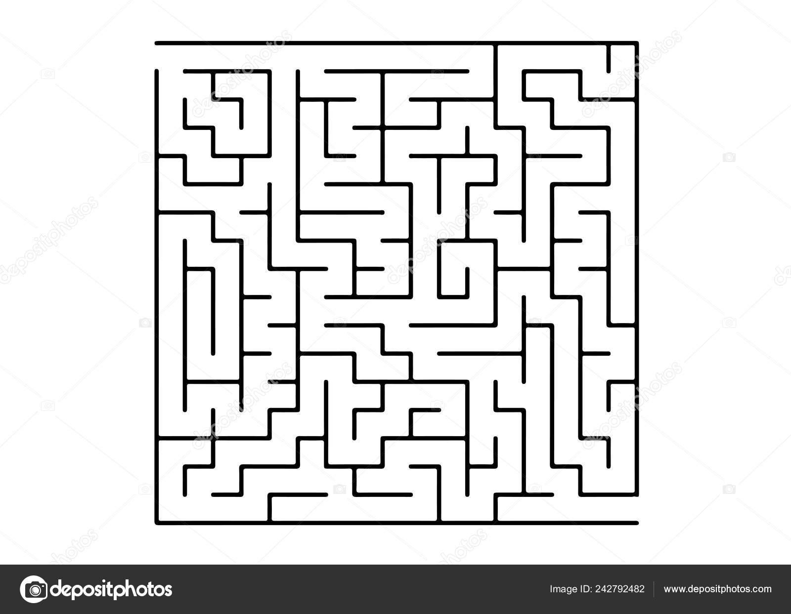 White Vector Template Black Maze Puzzle Maze Design Simple Style