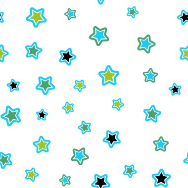 Light Blue, Green vector seamless template with sky stars. Shining colored illustration with stars. Texture for window blinds, curtains.