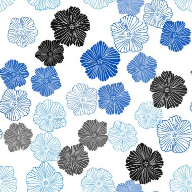 Light BLUE vector seamless doodle texture with flowers. Doodle illustration of flowers in Origami style. Design for textile, fabric, wallpapers.