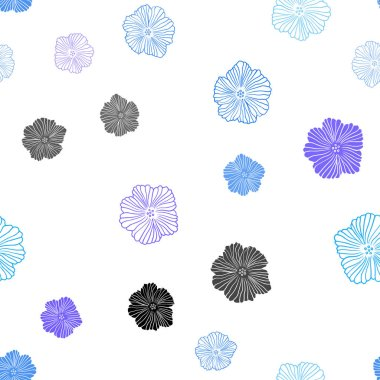 Light Pink, Blue vector seamless doodle template with flowers.