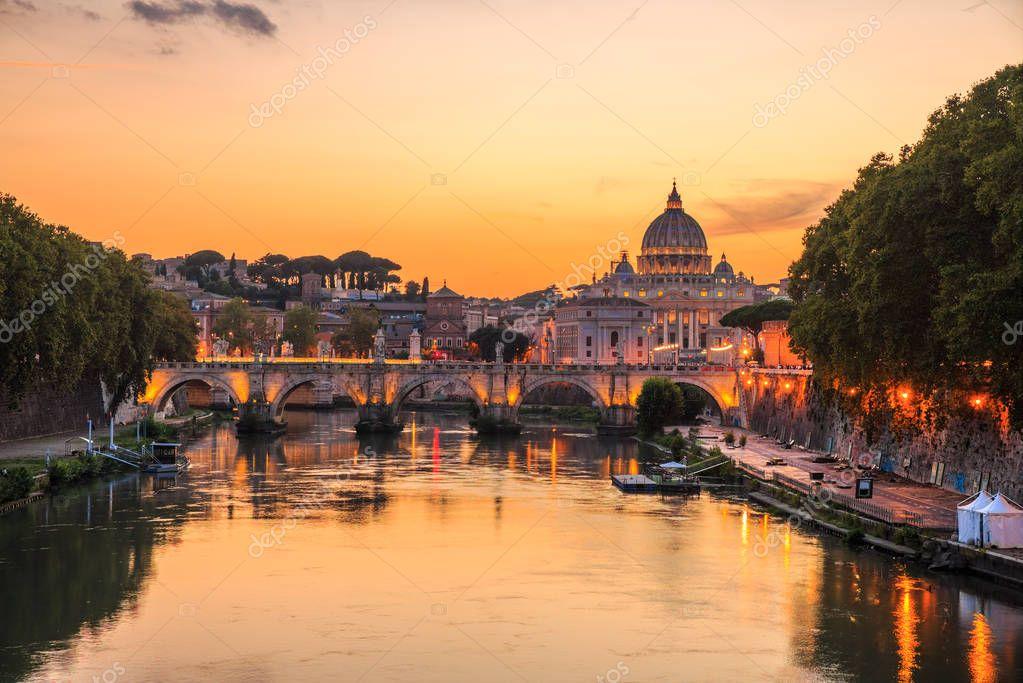 Vatican City, Rome, Italy, Beautiful Vibrant Night image