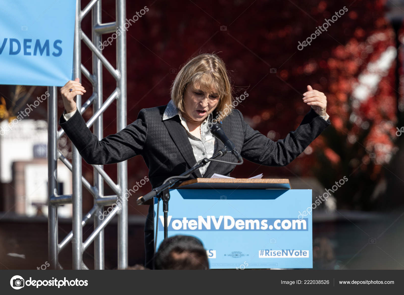 Reno October 2018 Kate Marshall Looking Political Rally Unr Campus Stock Photo