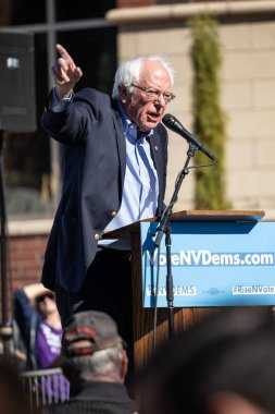 RENO, NV - October 25, 2018 - Bernie Sanders during a speech at a political rally on the UNR campus. Vertical photo.