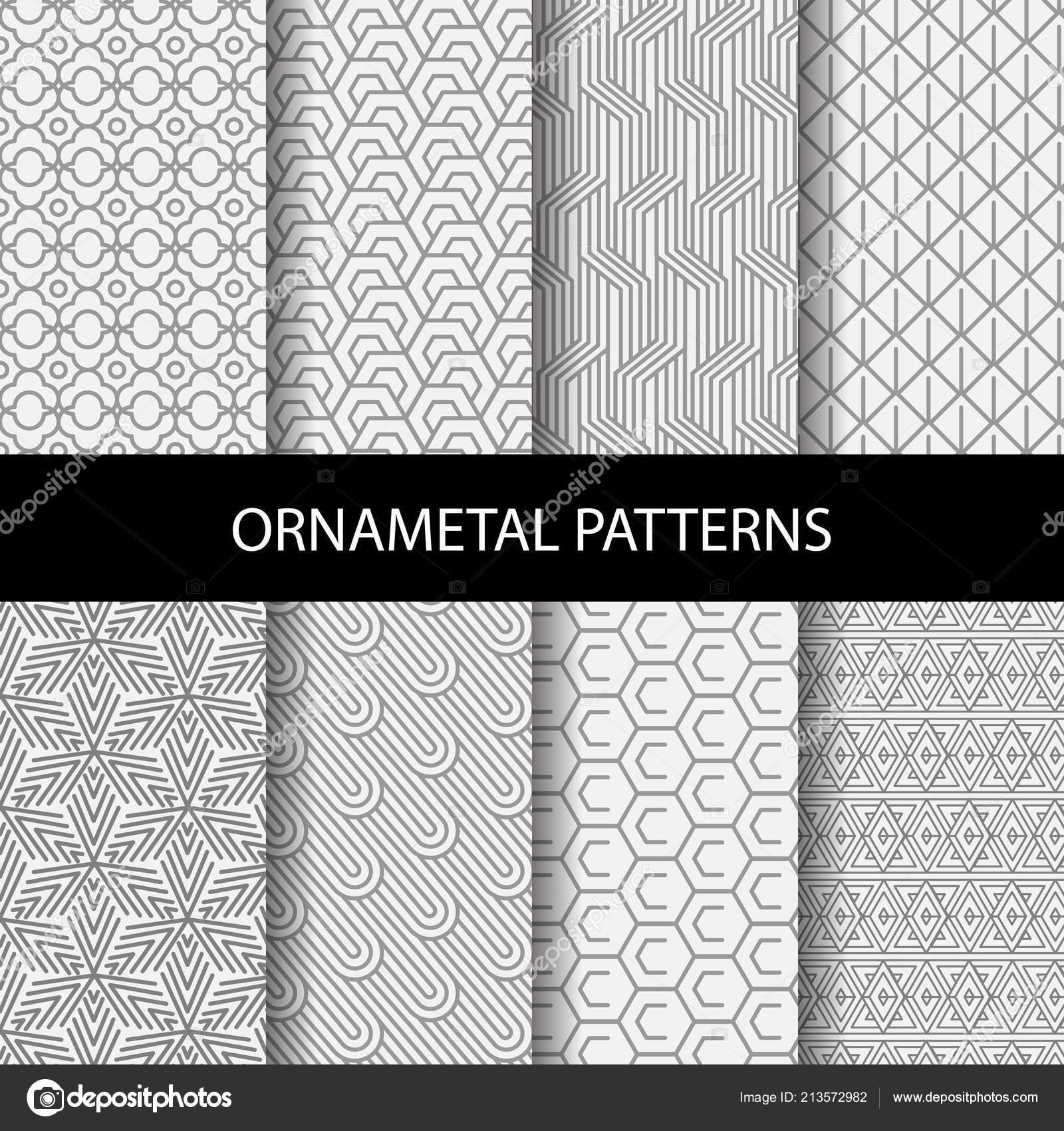 Diferentes Patrones Color Marrón Diseño Formal Geométrico Muestras ...