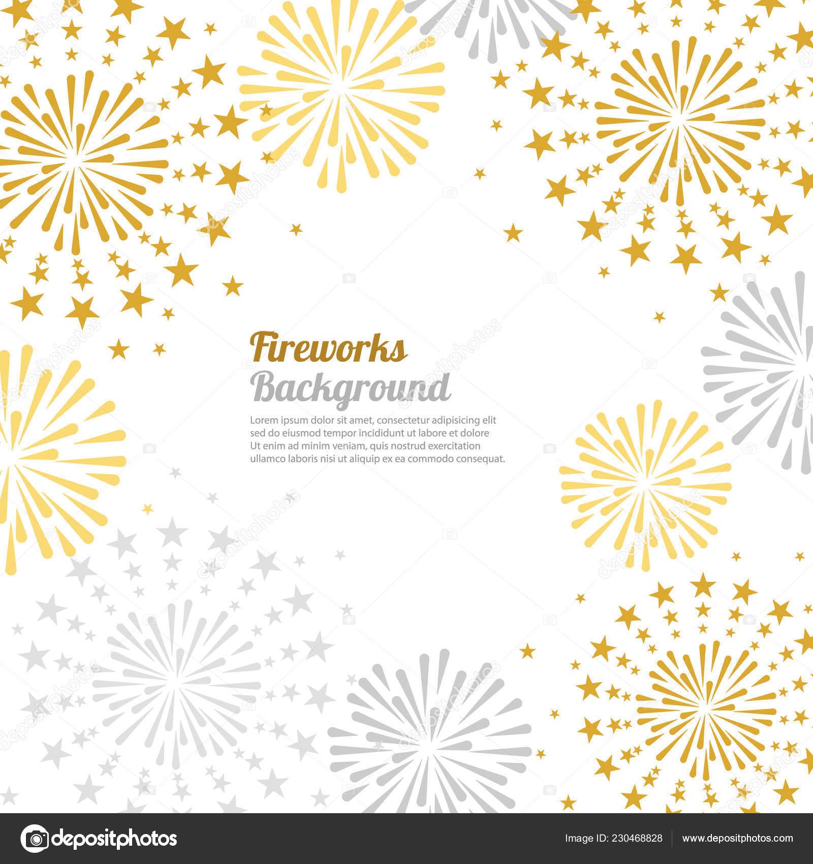 Fuoco Artificio Oro Brillante Sfondo Bianco Può Essere Utilizzato