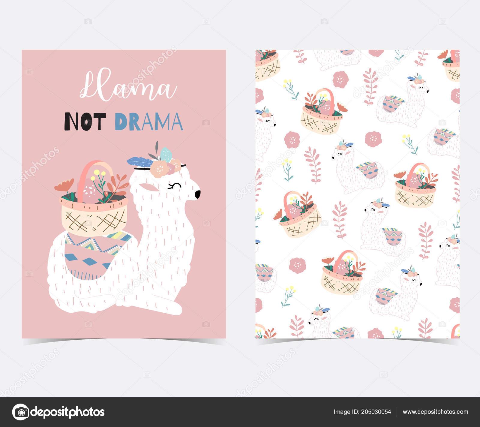6095c7795 Hand Drawn Cute Card Llama Flower Leaf Wreath Basket Summer — Stock Vector