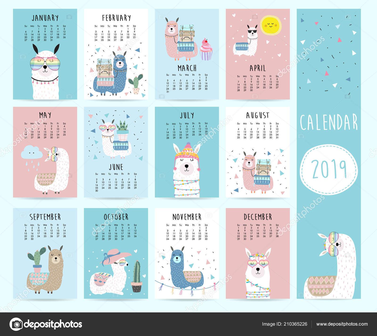 Calendario De Septiembre 2019 Para Imprimir Animado.Lindo Mes Calendario 2019 Con Llama Equipaje Cactus