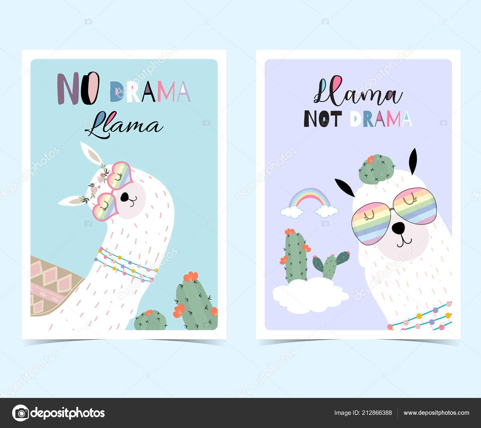 7de883cd3 Blue Violet Hand Drawn Cute Card Llama Glasses Cactus Summer– stock  illustration