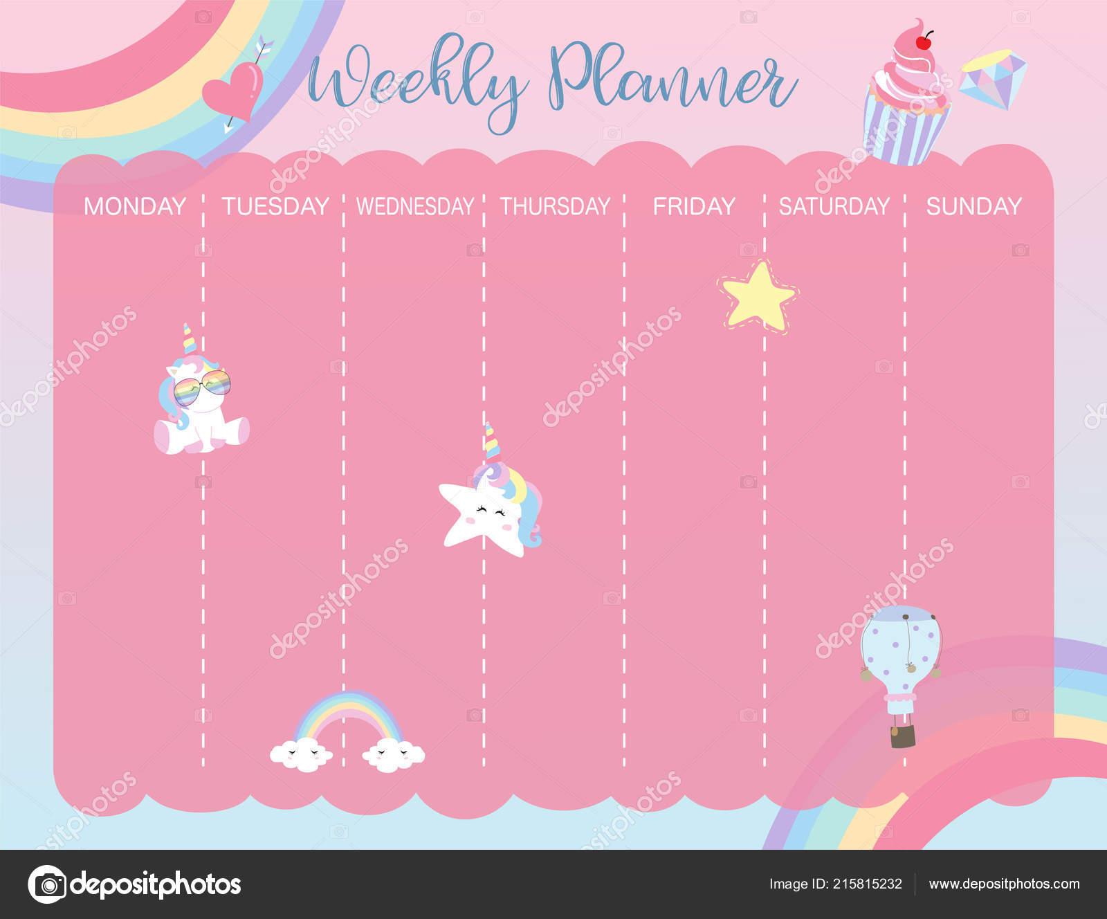 Pastel Weekly Calendar Planner Unicorn Rainbow Glasses Cupcake