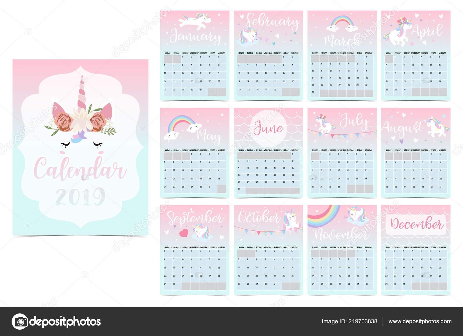 Calendario Rainbow.Cute Rainbow Monthly Calendar 2019 Unicorn Head Star Heart
