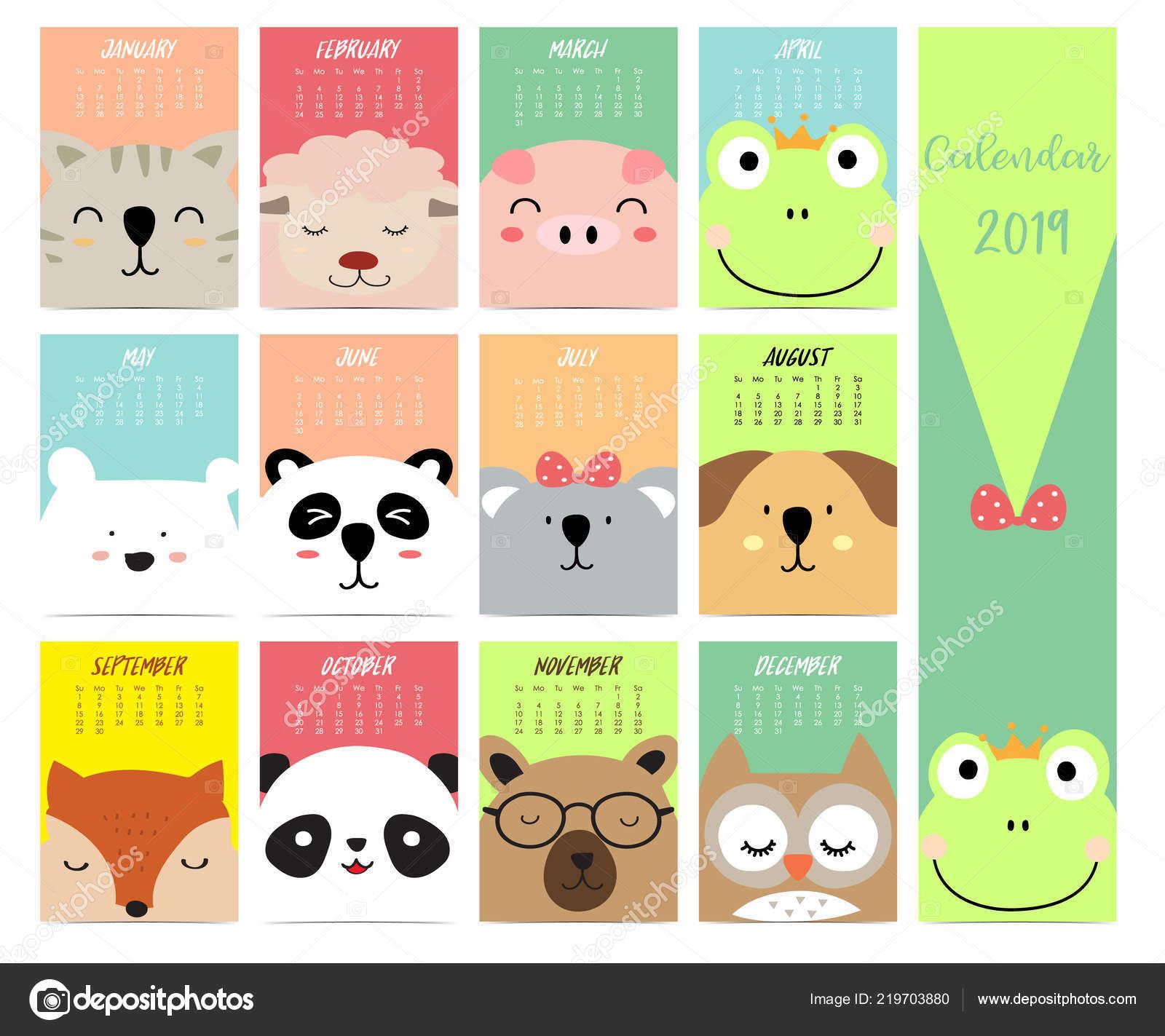 Cute Monthly Calendar 2019 Cat Sheep Pig Fox Bear Panda Stock