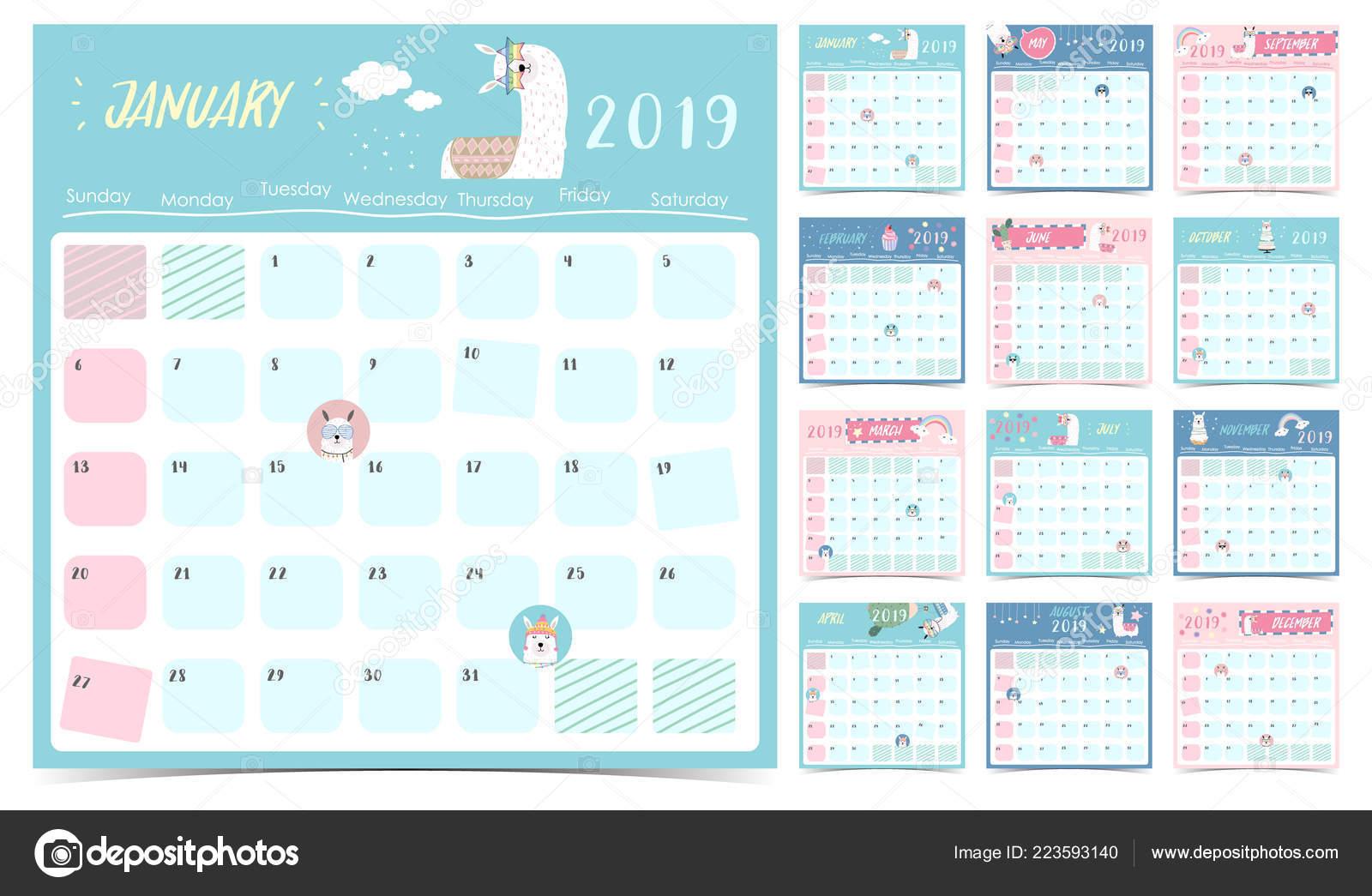 Calendario Mensual 2019 Para Imprimir.Lindo Calendario Mensual 2019 Con Llama Arco Iris Cactus Gafas