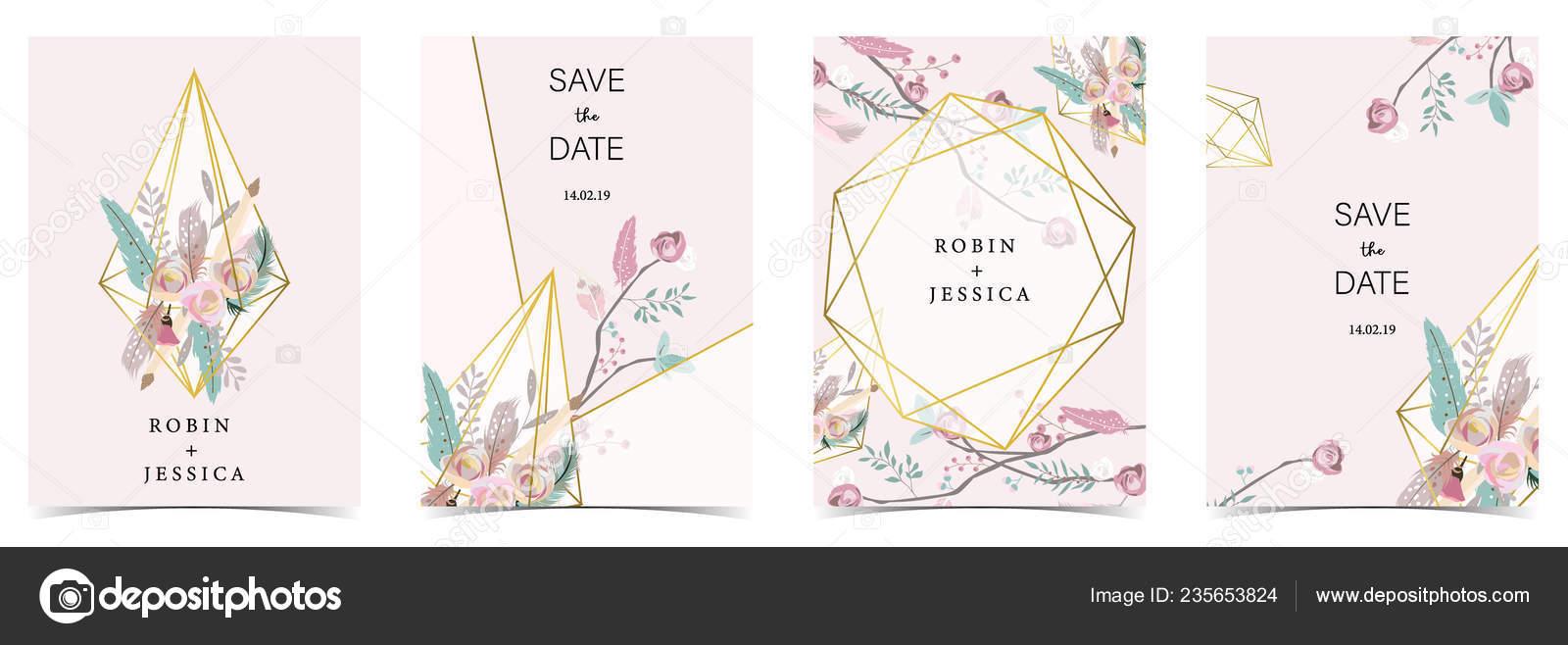 Geometría Rosa Verde Tarjeta Invitación Boda Oro Con Rosa