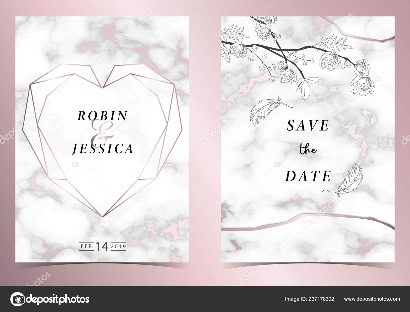 Carte Invitation Mariage Coeur Géométrie Rose Contour Avec