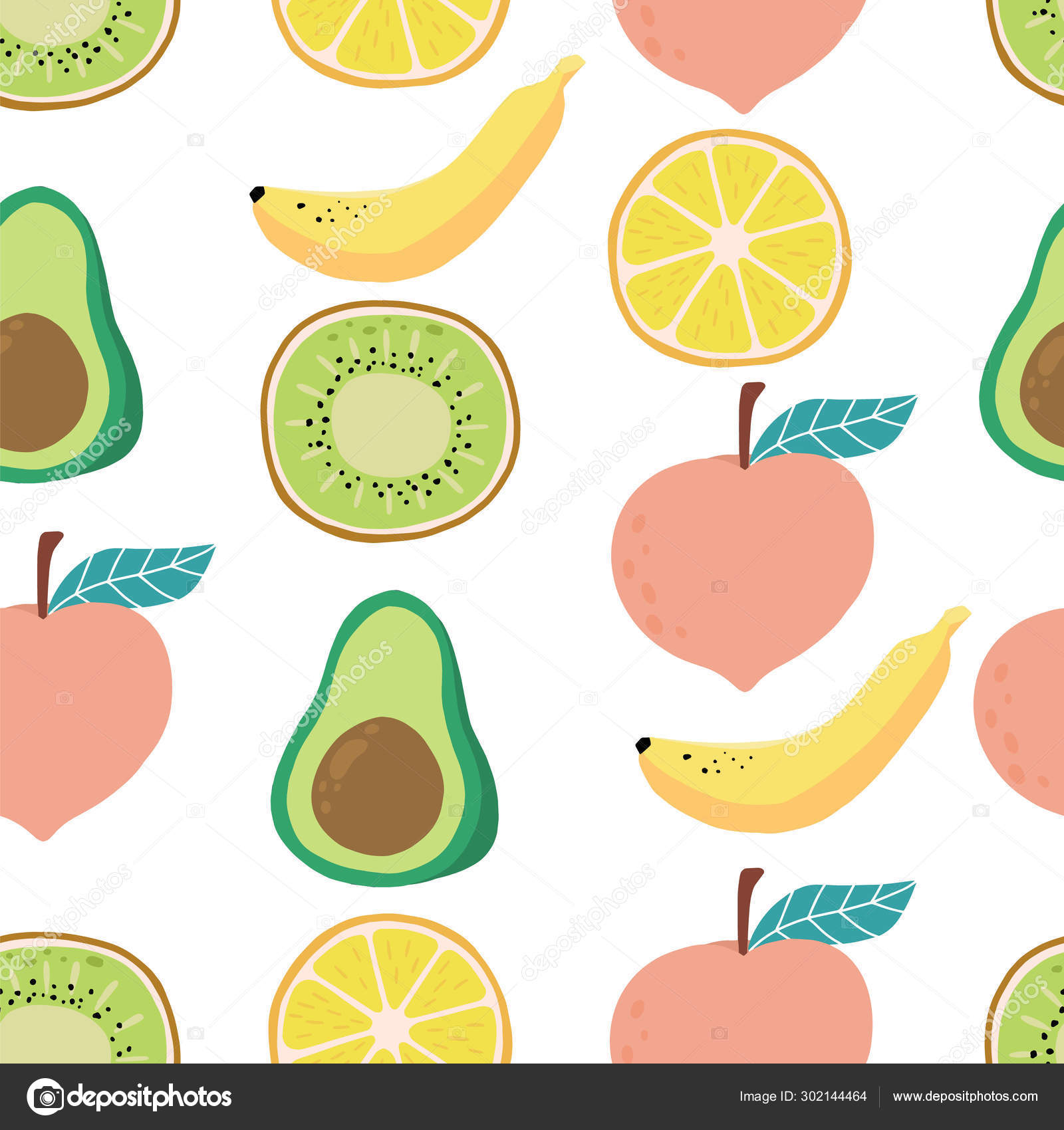 Cute Fruit Background With Lemon Kiwi Peach Banana Avocado