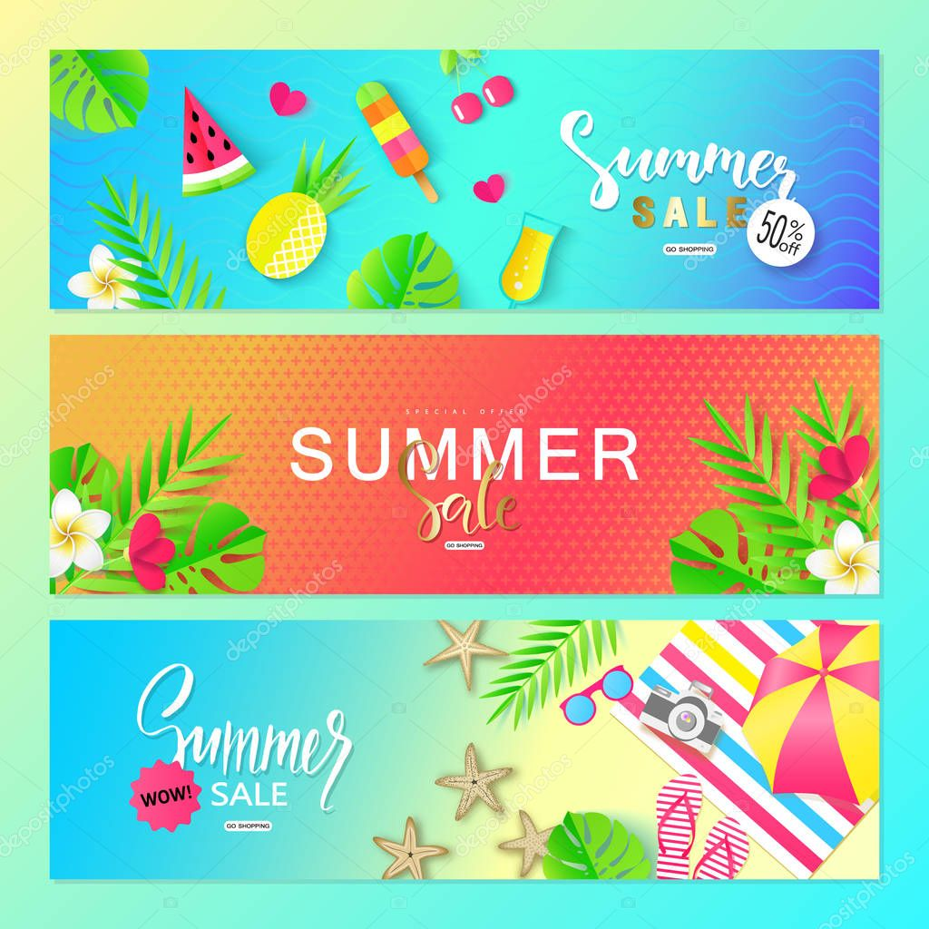 Summer sale. Vector set horizontal banners with summer elements. Backgrounds for posters, email and newsletter designs, ads, coupons, promotional material