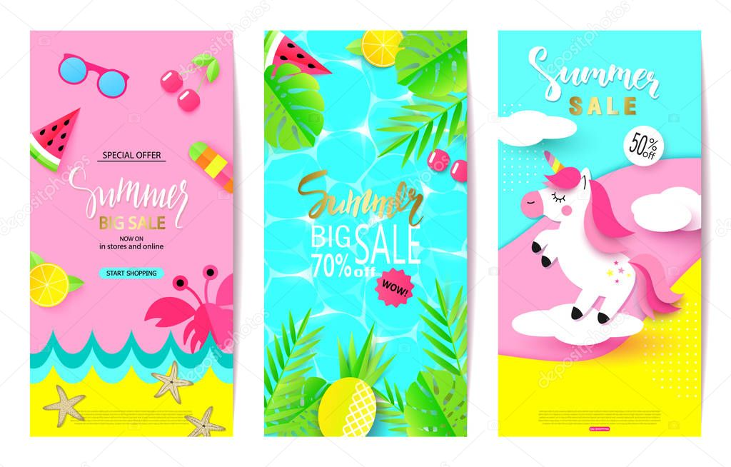 Set of summer sale banner templates with paper elements. Vector illustrations for website and mobile website banners, posters, email and newsletter designs, ads, coupons, promotional material
