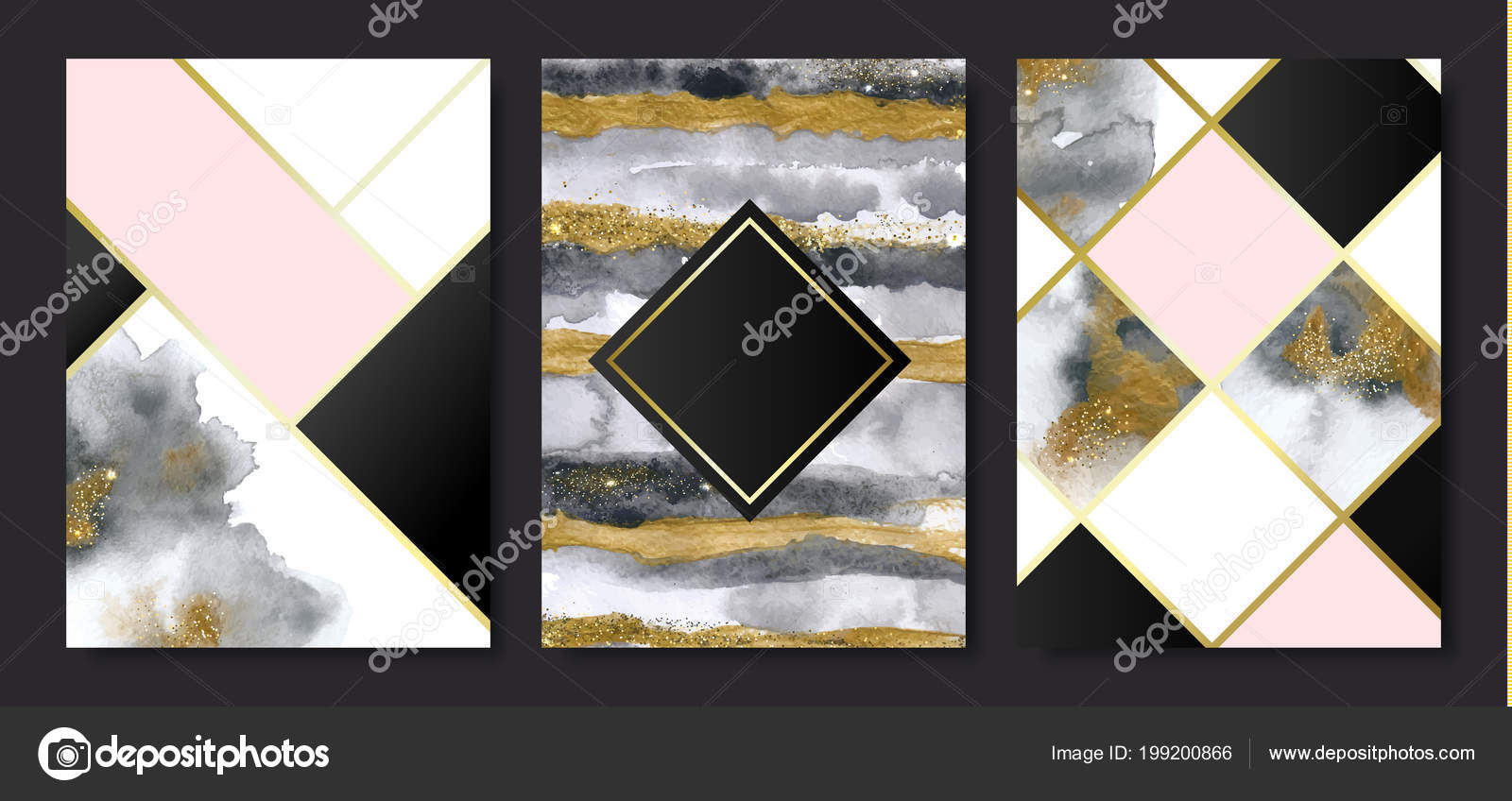 Invitation cards gold grey marble watercolor texture geometric invitation cards gold grey marble watercolor texture geometric shapes vector vetores de stock stopboris Image collections
