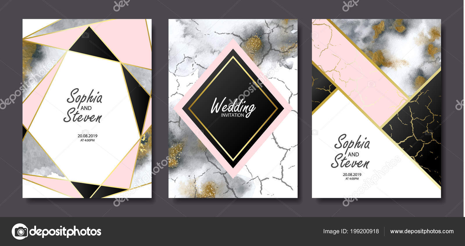 Wedding invitation cards gold grey marble watercolor texture wedding invitation cards with gold and grey marble watercolor texture and geometric shapesctor illustration vetor de infectsiyail stopboris Image collections