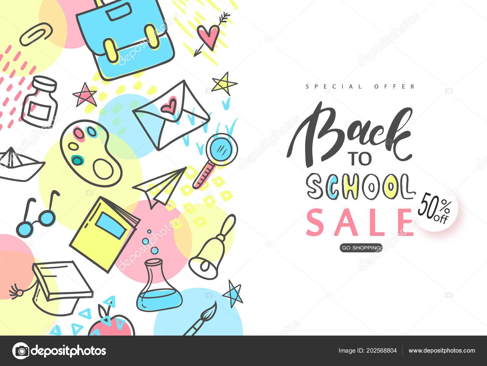 Zpátky do školy nápis-výprodej. Ručně kreslené školní potřeby na bílém  pozadí. Vektorové 3e42e1b09d