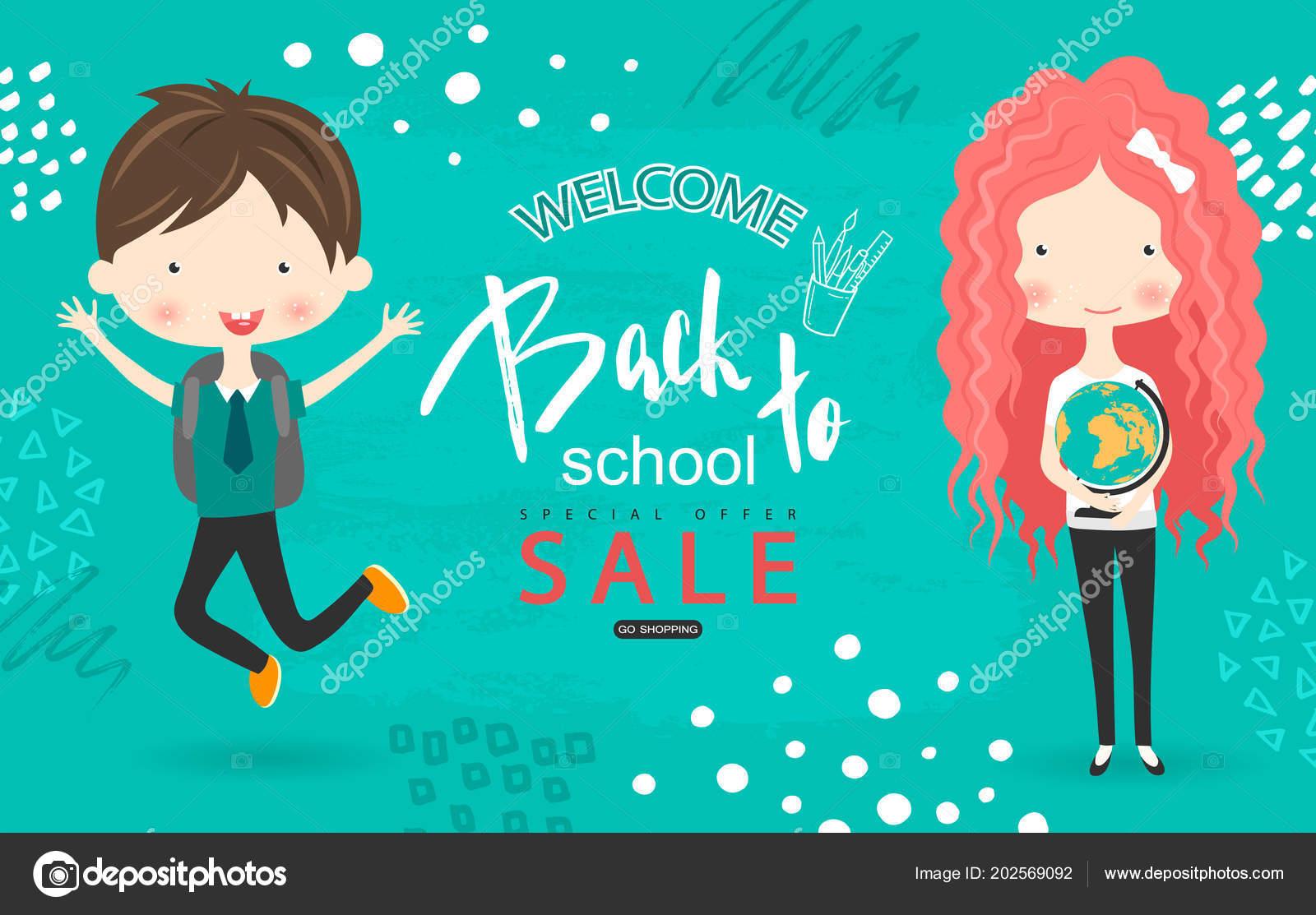 Zpátky do školy prodej vektorové pozadí se studenty. Vektorové ilustrace  pro webové stránky 52c50e8d2b