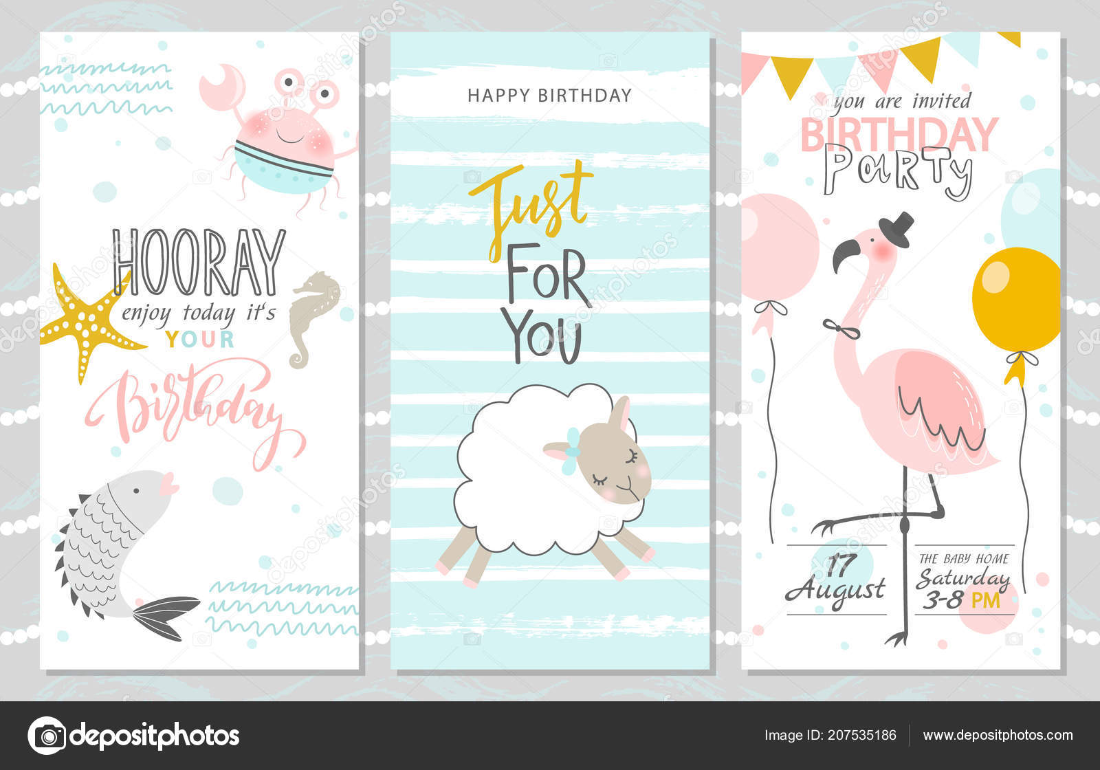 Terrific Flamingo Birthday Invitation Template Set Birthday Greeting Funny Birthday Cards Online Fluifree Goldxyz
