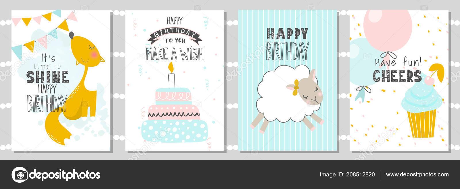 Fabulous Set Birthday Greeting Cards Party Invitation Templates Cute Fox Funny Birthday Cards Online Fluifree Goldxyz