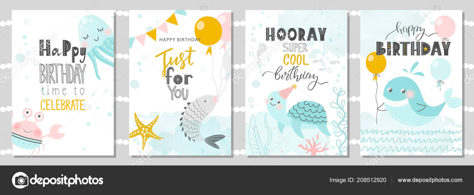 Magnificent Set Birthday Greeting Cards Party Invitation Templates Cute Crab Funny Birthday Cards Online Fluifree Goldxyz