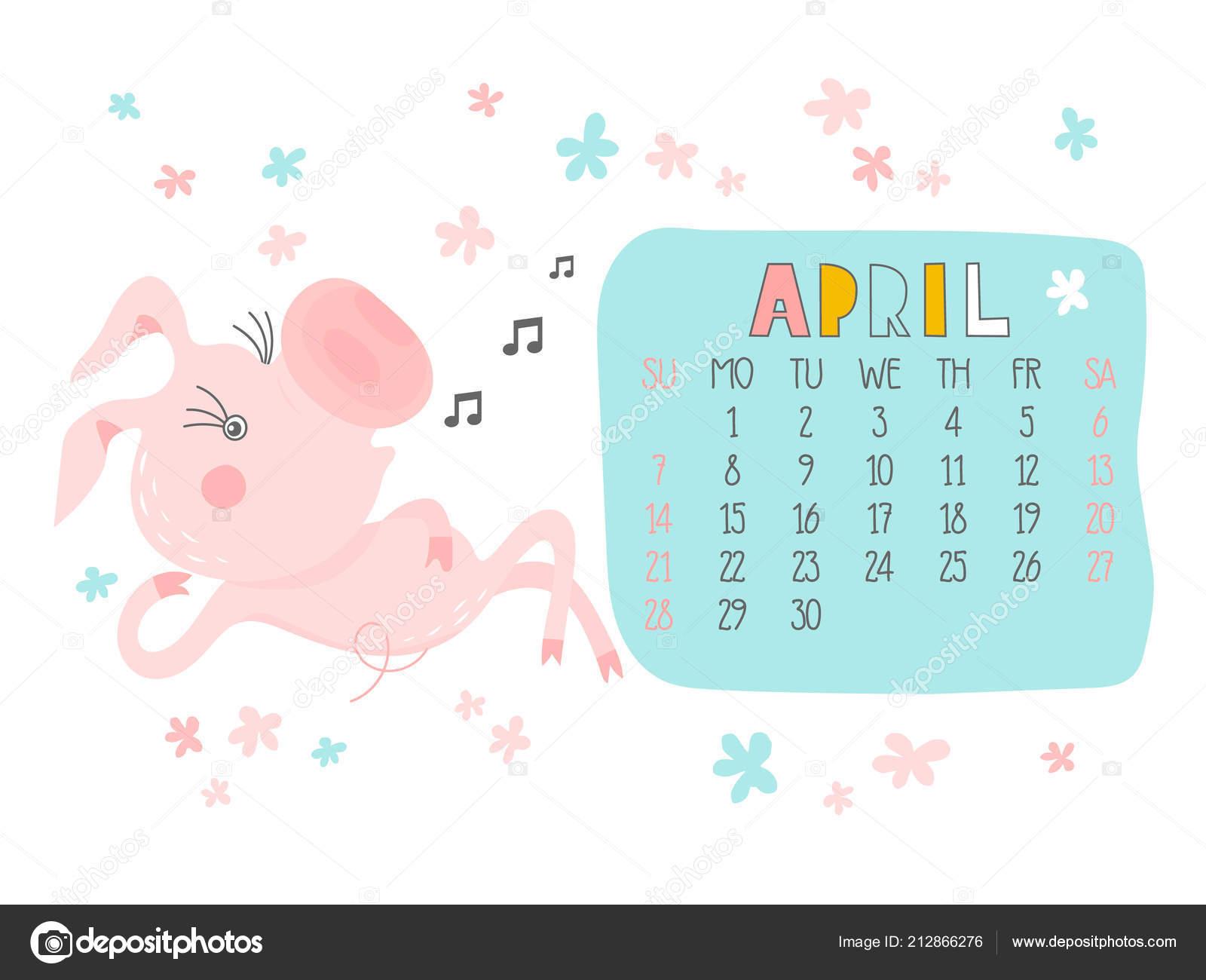 calendario creativo para abril 2019 con cerdo lindo