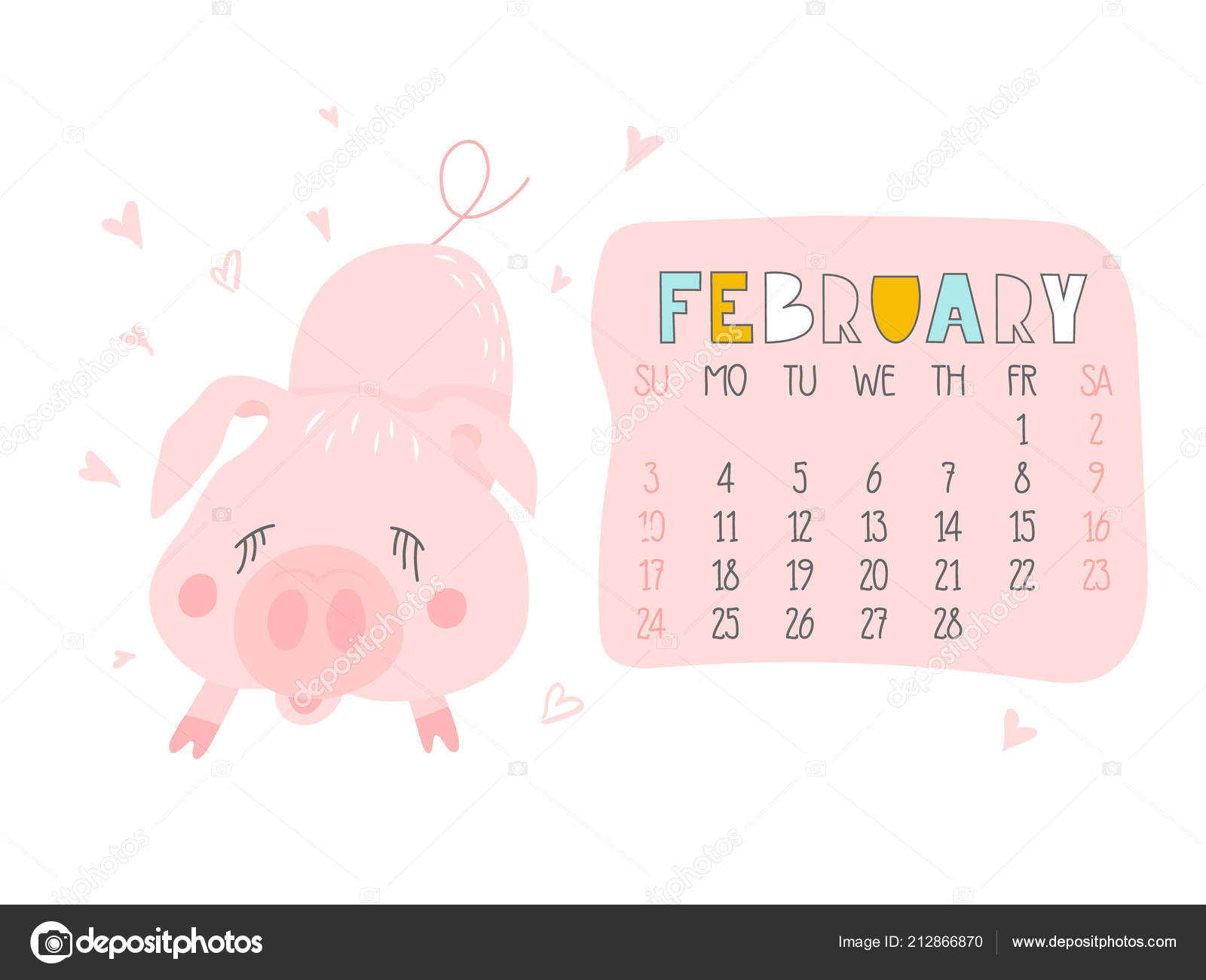 Chinese Calendar February 2019 Creative Calendar February 2019 Cute Pig Concept Vector Vertical