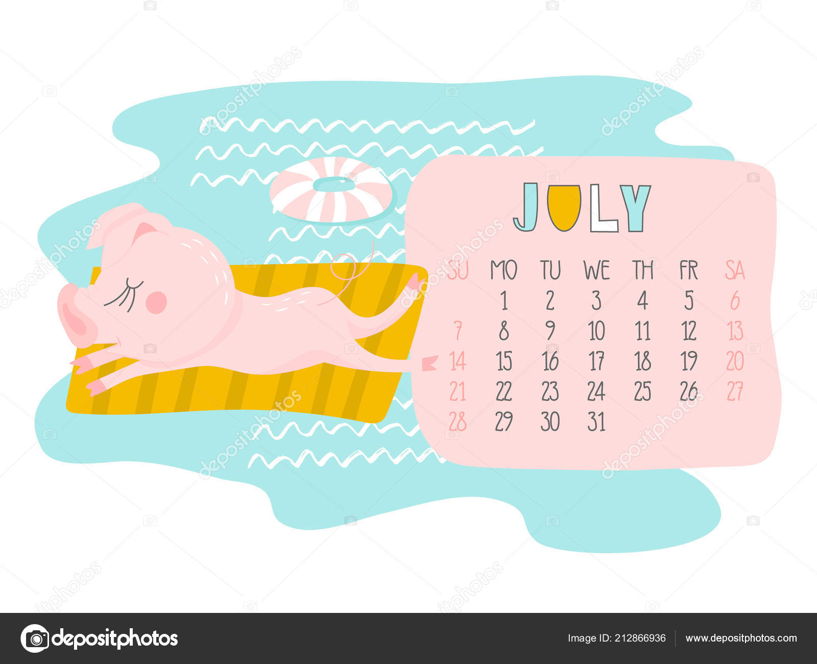 Calendario Julio 2019 Vector.Creative Calendar July 2019 Cute Pig Concept Vector Vertical