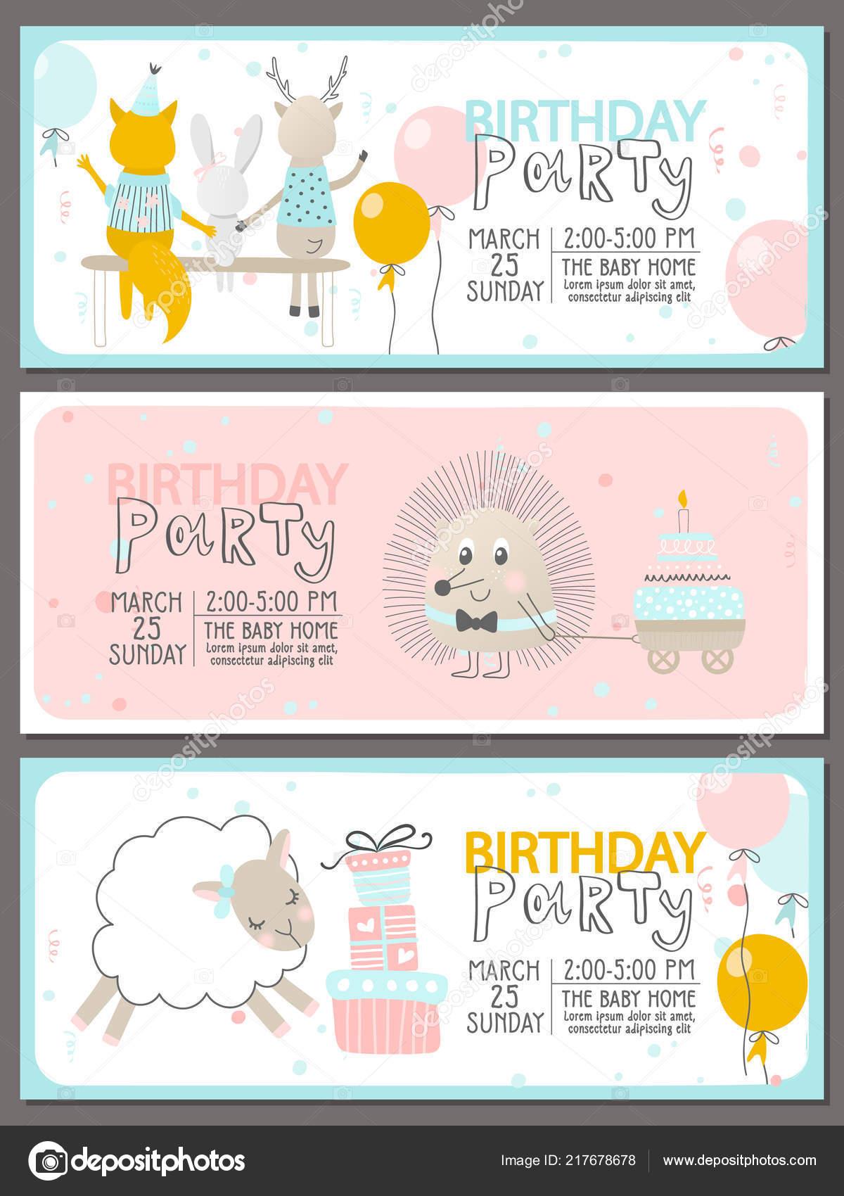 Set Birthday Party Invitation Templates Cute Animals Vector Illustration Stock