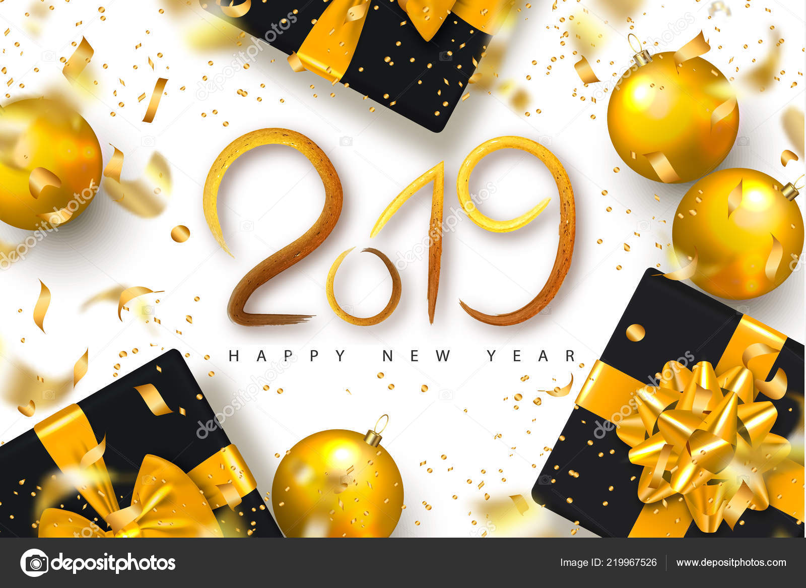 2019 happy new year background for holiday greeting card invitation party flyer poster banner beautiful golden shiny tree ballsgift boxes and