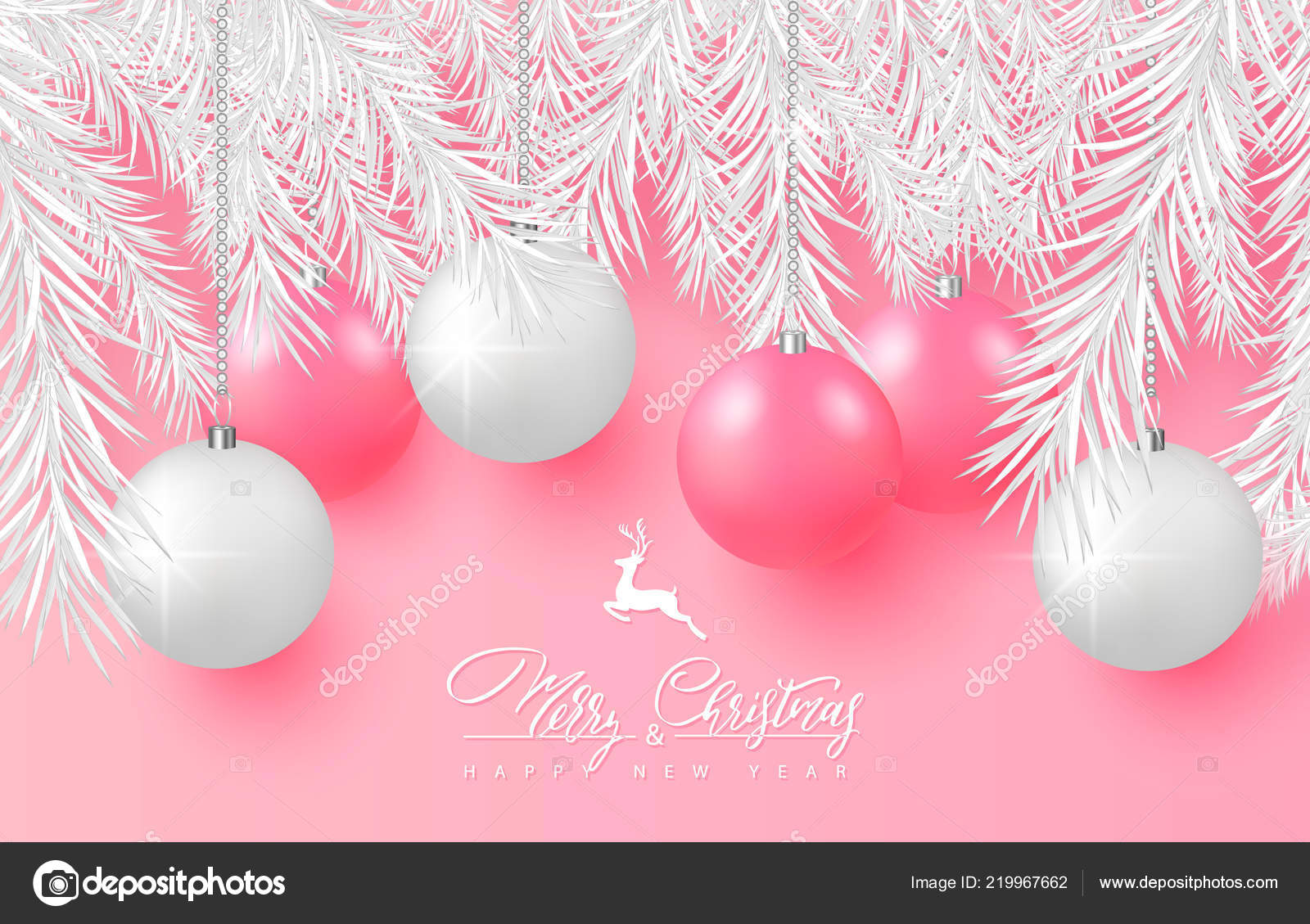 2019 merry christmas and happy new year background for holiday greeting card poster banner beautiful tree ballswhite tree branches and lettering on pink