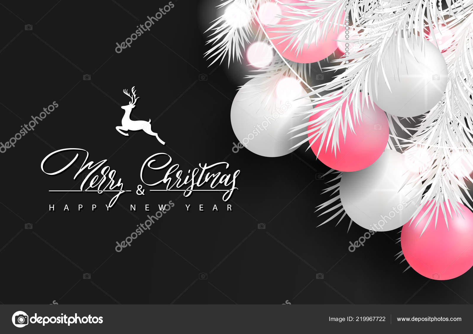 2019 merry christmas and happy new year background for holiday greeting card poster banner beautiful tree ballsgarlandwhite tree branches and lettering