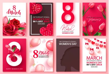 8 March international womens day Set of cards. Background for website , posters,ads, coupons, promotional material. Vector illustration